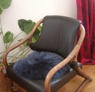 runde Sitzauflage aus australischen Lammfellen, Fellkissen indigo, Ø ca. 45 cm, waschbar, Haarlänge ca. 70 mm