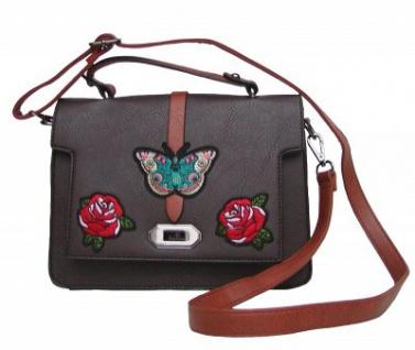 Angel kiss FLOWER kleine freche Handtasche mit Schmetterling braun/cognac, Fashion Strap INKA Design, 25x19x10 cm
