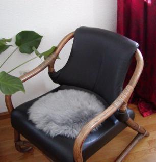 runde Sitzauflage aus australischen Lammfellen, Fellkissen grau, Ø ca. 45 cm, waschbar, Haarlänge ca. 70 mm
