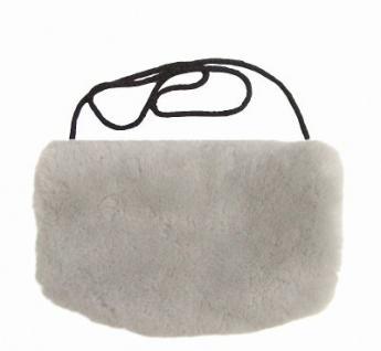 warmer Lammfell Pelzmuff hellgrau mit Reißverschlusstasche waschbar, geschorenes Lammfell, ca. 29, 5x19 cm