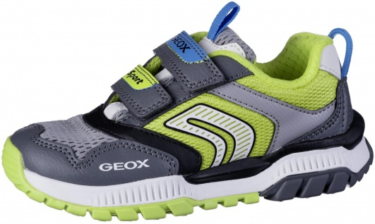 GEOX Jungen Synthetik Sneakers grey, atmungsaktive Geox Laufsohle