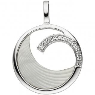 Anhänger 925 Sterling Silber 12 Zirkonia 1 Perlmutt Einlage Perlmuttanhänger