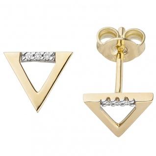Ohrstecker Dreieck 585 Gold Gelbgold 6 Diamanten Brillanten 0, 02ct. Ohrrringe