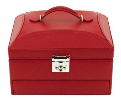 Friedrich Lederwaren Leder Schmuckkasten rot, automatische Schuböffnung, viele Fächer, Serie Cordoba, ca. 22, 4x16x14, 8 m