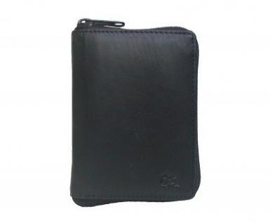 Dolphin praktische Damen Leder Reißverschluss Geldbörse schwarz, 2 x EK-Chip, 12xCC, viele Fächer, ca. 10x14 cm