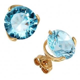 Ohrstecker rund 585 Gold Gelbgold 2 Blautopase hellblau blau Ohrringe