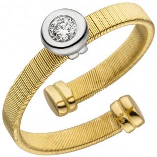 Damen Ring offen 750 Gelbgold Weißgold bicolor matt 1 Diamant Brillant