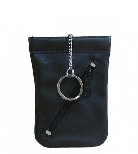 Bianci Leder Schlüsseltasche schwarz, 1 Hauptfach mit Spannfeder, 1 Ring, 1 R...