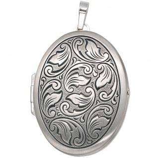 Medaillon oval 925 Sterling Silber mattiert geschwärzt Anhänger zum Öffnen