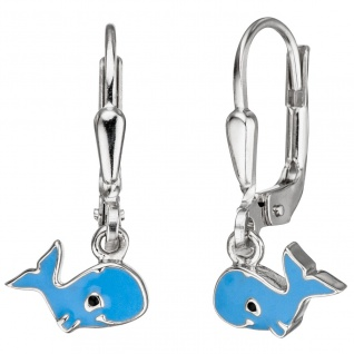 Kinder Ohrhänger Wal 925 Sterling Silber hellblau blau Ohrringe Kinderohrringe