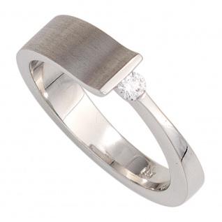 Damen Ring 585 Gold Weißgold teilmatt 1 Diamant Brillant 0, 07ct. Weißgoldring