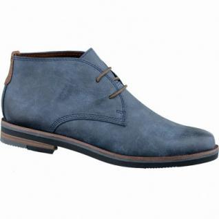 Marco Tozzi trendige Damen Synthetik Schnür Boots blau antik, weiche Decksohle, flexible Laufsohle, 1637179/36