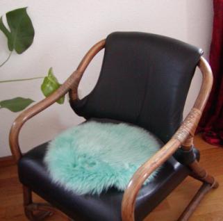 runde Sitzauflage aus australischen Lammfellen, Fellkissen ozeangrün, Ø ca. 45 cm, waschbar, Haarlänge ca. 70 mm