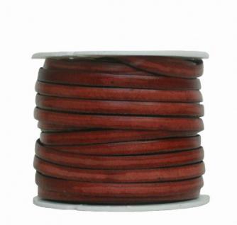 Ziegenleder Lederriemen, Lederband flach mittelbraun, Kanten schwarz gefärbt, Länge 25 m, Breite ca. 5 mm, Stärke ca. 1, 0 mm
