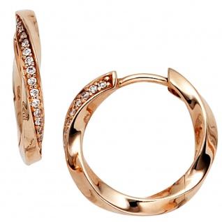 Creolen 585 Gold Rotgold 30 Diamanten Brillanten Ohrringe Rotgoldcreolen