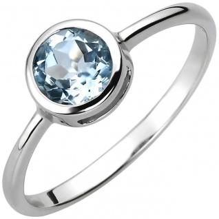 Damen Blautopas Ring 925er Sterling Silber, ca. 7, 3 mm breit, Blautopas hellb...