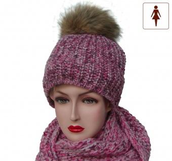 Set Mütze + Loop Schal pink-bunt, große Fuchspelzbommel