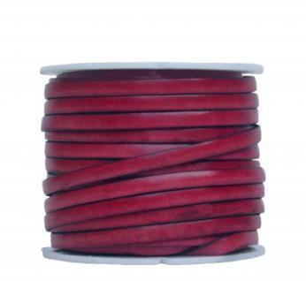 Ziegenleder Lederriemen, Lederband flach rose, Kanten schwarz gefärbt, Länge 25 m, Breite ca. 5 mm, Stärke ca. 1, 0 mm