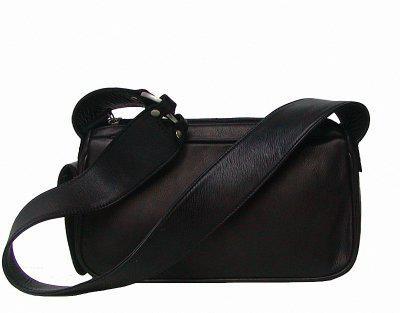 kleine elegante Damen Leder Handtasche schwarz, 2 separate Fächer, ca. 28x15 cm