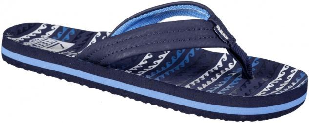 REEF Kids Ahi Jungen Pantoletten blue horizon waves, weiches Fußbett, weiche ...