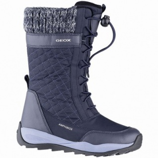 Geox Mädchen Winter Synthetik Amphibiox Stiefel navy, 20 cm Schaft, molliges Warmfutter, herausnehmbare Einlegesohle, 3741114/31
