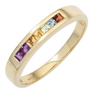 Damen Ring 585 Gelbgold 2 Amethyste 2 Citrine 1 Granat 1 Peridot 1 Blautopas