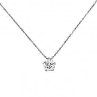 Collier Kette mit Anhänger 585 Gold Weißgold 1 Diamant Brillant 1, 0 ct. 45 cm