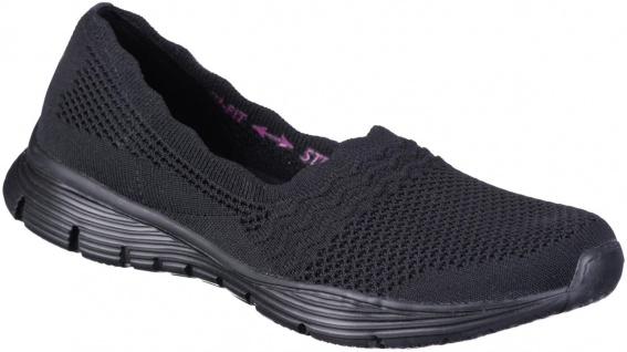 SKECHERS Seager Damen Slippers black, Strickmaterial, Air Cooled Memory Foam ...