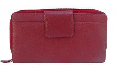 Dolphin minimalistische Damen Leder Reißverschluss Börse rot, 12xCC, 3 Scheinfächer, ca. 19x10 cm