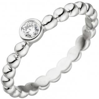 Damen Ring Kugel 925 Sterling Silber 1 Zirkonia Kugelring Silberring