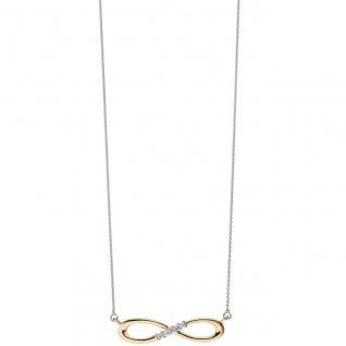 Collier Halskette Unendlich 585 Gold bicolor 5 Diamanten Brillanten Kette