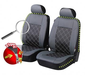 2 Stück Universal ZIPP IT Auto Sitzbezüge grau aus Kunstleder für Vordersitze...