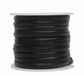 Ziegenleder Lederriemen, Lederband flach schwarz, Länge 25 m, Breite ca. 5 mm, Stärke ca. 1, 0 mm