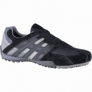 Geox sportliche Herren Leder Sneakers schwarz, Meshfutter, chromfrei, herausnehmbare Einlegesohle, 2041106/45