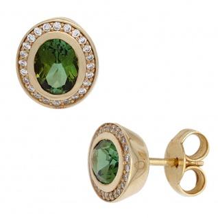 Ohrstecker 585 Gold Gelbgold 2 Turmaline 48 Diamanten Brillanten Ohrringe