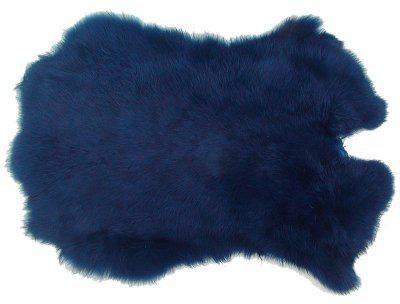 Kaninchenfelle cobaltblau gefärbt, ca. 30x30 cm, Felle vom Kaninchen mit seidigem Haar