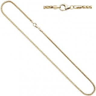 Zopfkette 585 Gelbgold 2, 6 mm 45 cm Gold Kette Halskette Goldkette Karabiner - Vorschau 2