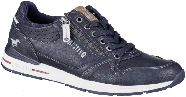 MUSTANG Herren Leder Imitat Sneakers navy, Textilfutter, weiche Decksohle