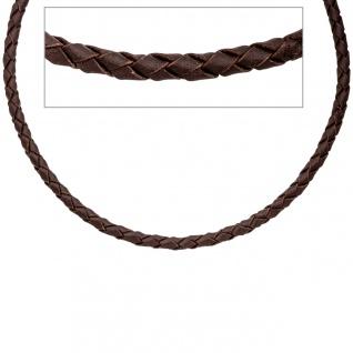 Leder Halskette Kette Schnur braun 50 cm Karabiner 925 Sterling Silber