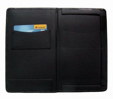 Feinsynthetik Rechnungsmappe für Kellner schwarz, 13x22 cm, 1xCC, 1 Scheinfach, 1 Steckfach