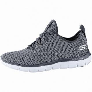Skechers Flex Appeal 2.0 coole Damen Strick Sneakers charcoal, Skechers Air-Cooled-Memory-Foam-Fußbett, 4240193