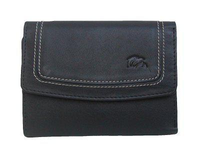 Dolphin handliche Damen Leder Geldbörse schwarz, 8xCC, 1 Scheinfach, viele Fächer, ca. 13x9, 5 cm - Vorschau 1