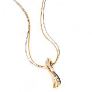 Anhänger 585 Gold Gelbgold bicolor matt 3 Diamanten Brillanten Goldanhänger