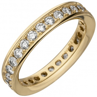 Damen Memory-Ring 585 Gold Gelbgold mit Diamanten Brillanten 1, 12 ct.