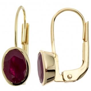 Boutons oval 333 Gold Gelbgold 2 Rubine rot Ohrringe Ohrhänger Goldohrringe
