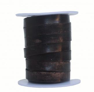 Rindleder Flachband antik im used look dunkelbraun, Länge 10 m, Breite 10 mm,...