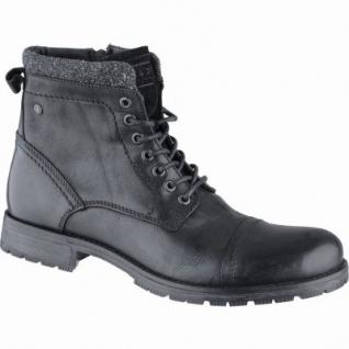 Jack&Jones Marly coole Herren Leder Boots black, herausnehmbare Einlegesohle, modische Profilsohle, 2539110/44