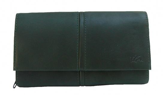 Dolphin exklusive große Damen Leder Börse dunkelgrün, 9xCC, 3 Scheinfächer, R...