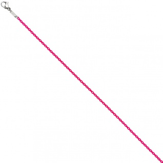 Rundankerkette Edelstahl pink lackiert 42 cm Kette Halskette Karabiner