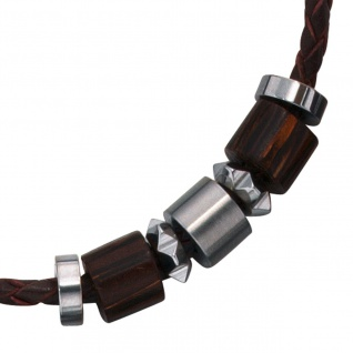 Collier Halskette Leder schwarz mit Edelstahl und Holz 45 cm Kette Lederkette